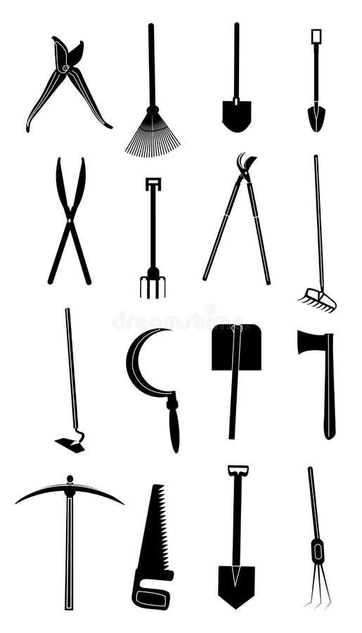 Arbeta i trädgården hjälpmedelsymbolsuppsättningen stock illustrationer