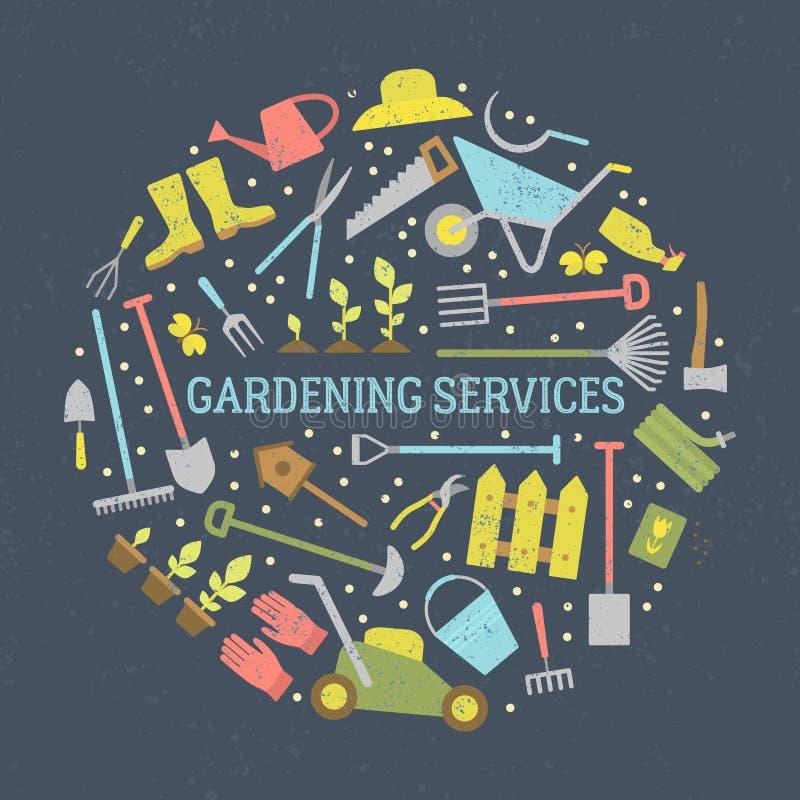 Arbeta i trädgården hjälpmedeluppsättningen vektor illustrationer