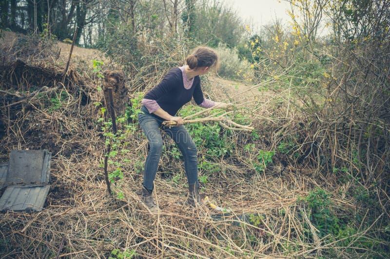 arbeta i trädgården kvinnabarn fotografering för bildbyråer