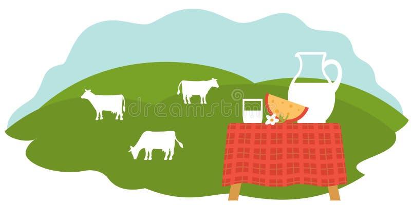 Arbeta i trädgården lantgård: Naturliga nya produkter - mjölka, kefir, kräm, ost stock illustrationer