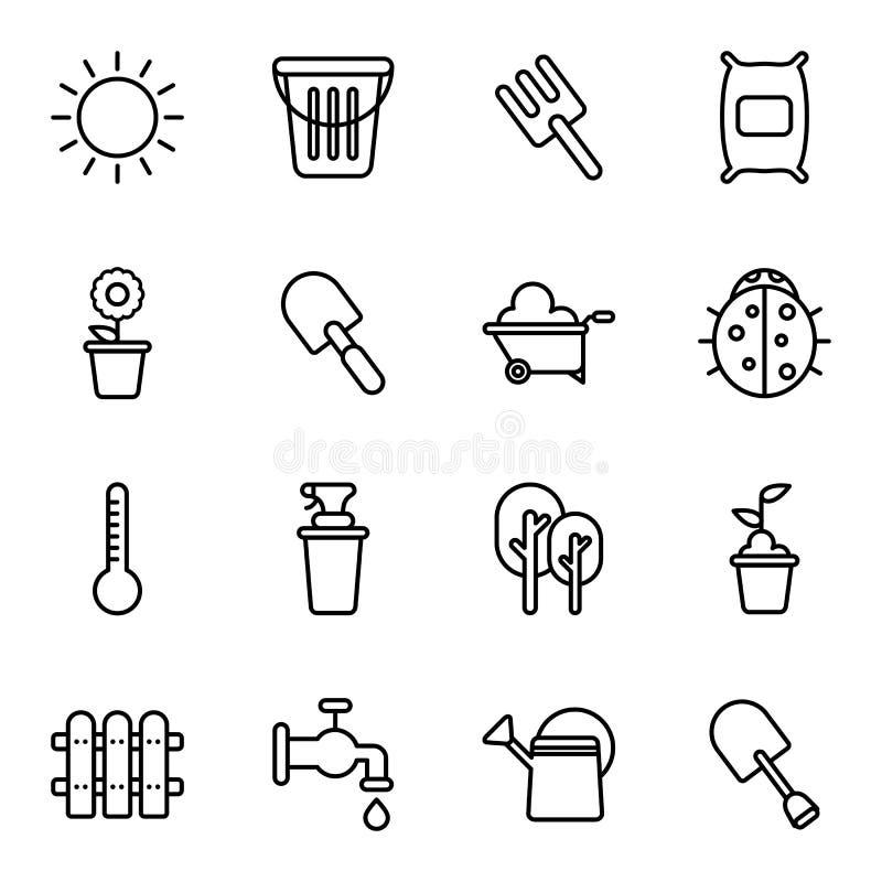 Arbeta i trädgården och åkerbruka symboler vektor illustrationer