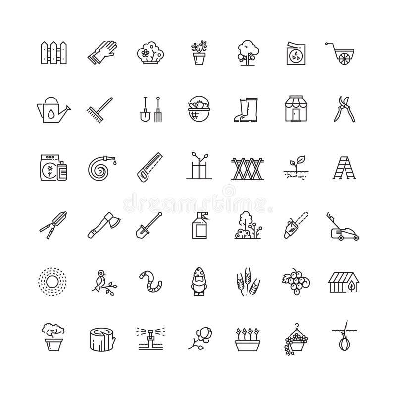 Arbeta i trädgården och kärna ur vektorlinjen thin symboler royaltyfri illustrationer