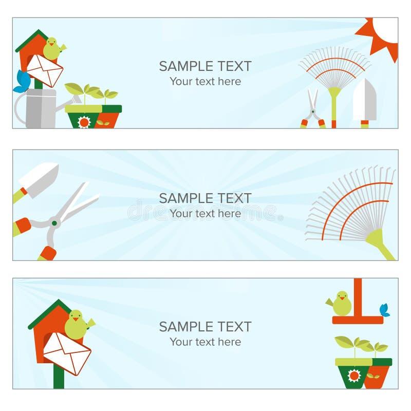 Arbeta i trädgården och odla rengöringsdukbanret stock illustrationer