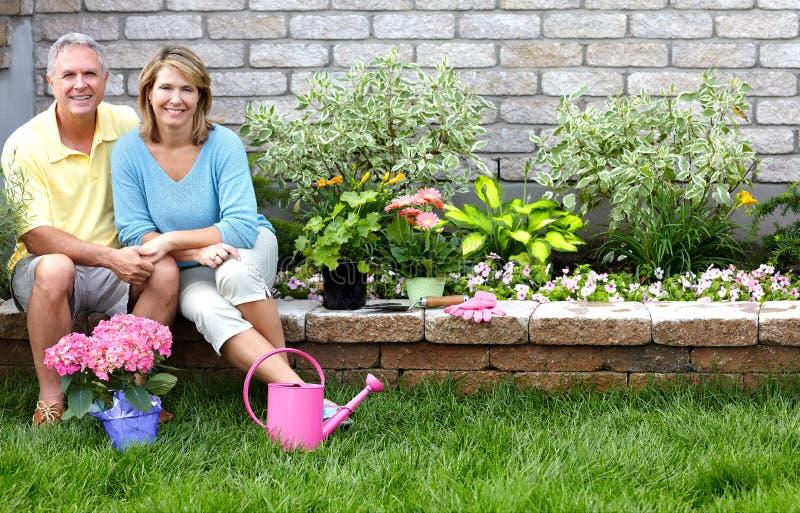 arbeta i trädgården pensionärer royaltyfri fotografi
