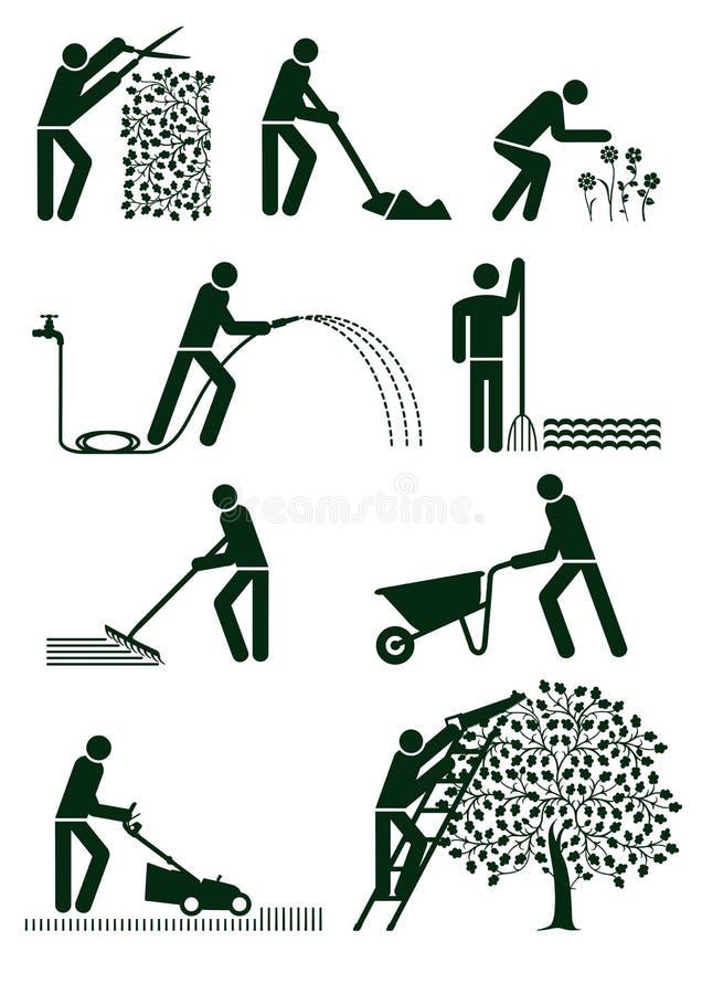 Arbeta i trädgården pictograms stock illustrationer