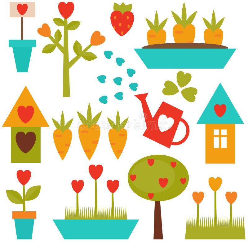 arbeta i trädgården set hjälpmedel vektor illustrationer