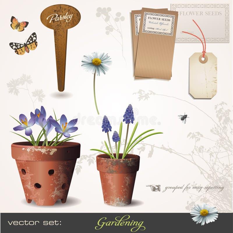 arbeta i trädgården set vektor stock illustrationer