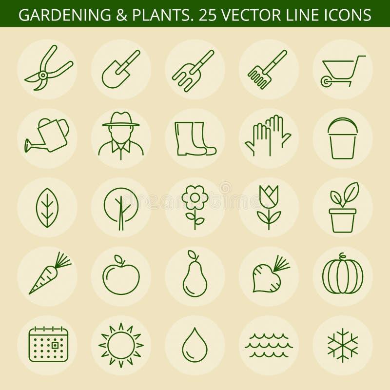arbeta i trädgården symboler stock illustrationer