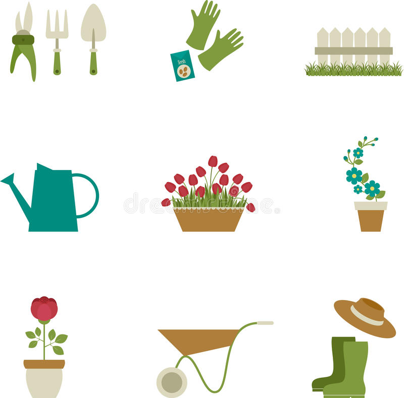 Arbeta i trädgården symbolsdesign. royaltyfri illustrationer
