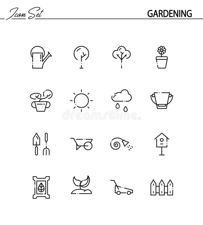 arbeta i trädgården symbolsset royaltyfri illustrationer