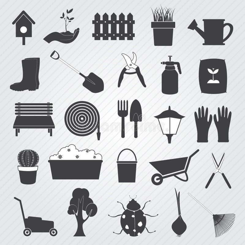 Arbeta i trädgården symbolsvektoruppsättningen stock illustrationer