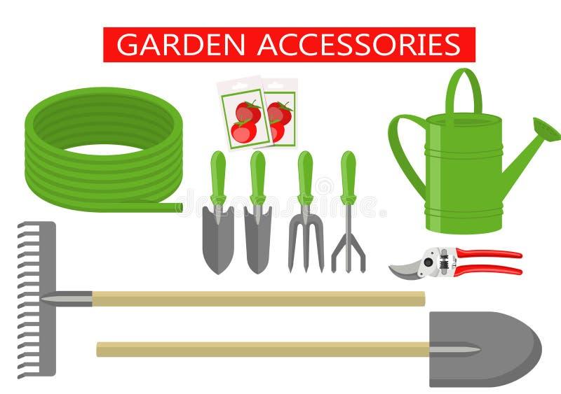 Arbeta i trädgården uppsättningen för symboler för arbetshjälpmedel framlänges Arbeta i trädgården bearbetar utrustning för att a vektor illustrationer