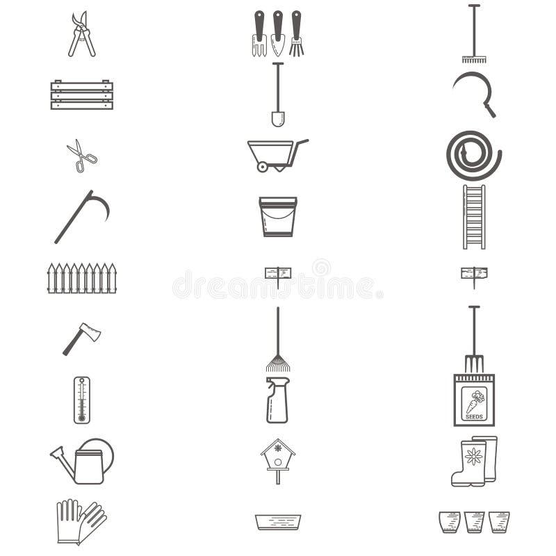 Arbeta i trädgården uppsättningen för symboler för arbetshjälpmedel framlänges Utrustning för att arbeta i trädgården, handskar,  vektor illustrationer