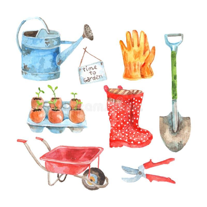 Arbeta i trädgården uppsättningen för vattenfärgpictogramssamling stock illustrationer