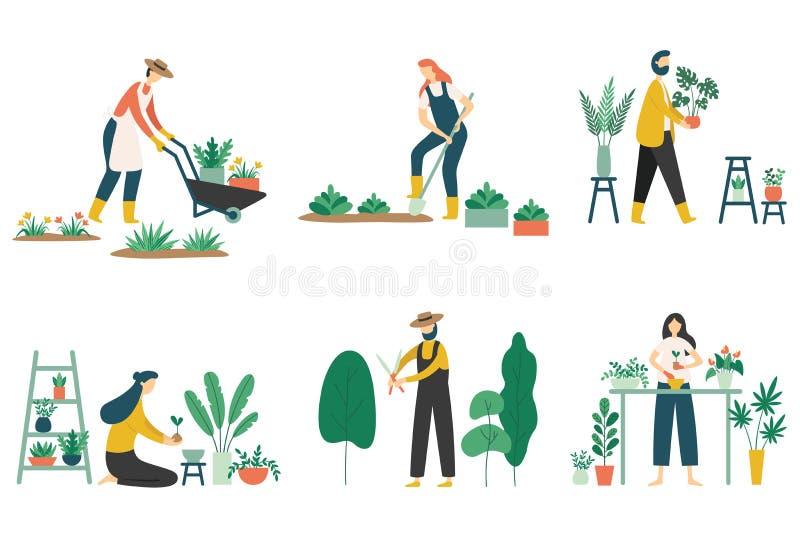 Arbeta i tr?dg?rden f?r folk Kvinna som planterar tr?dg?rdblommor, ?kerbruk tr?dg?rdsm?starehobby och upps?ttningen f?r illustrat royaltyfri illustrationer