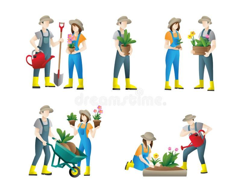 Arbeta i tr?dg?rden f?r folk uppsättning av plana illustrationer för vektor av folk som gör trädgårdjobb - bevattna som planterar stock illustrationer