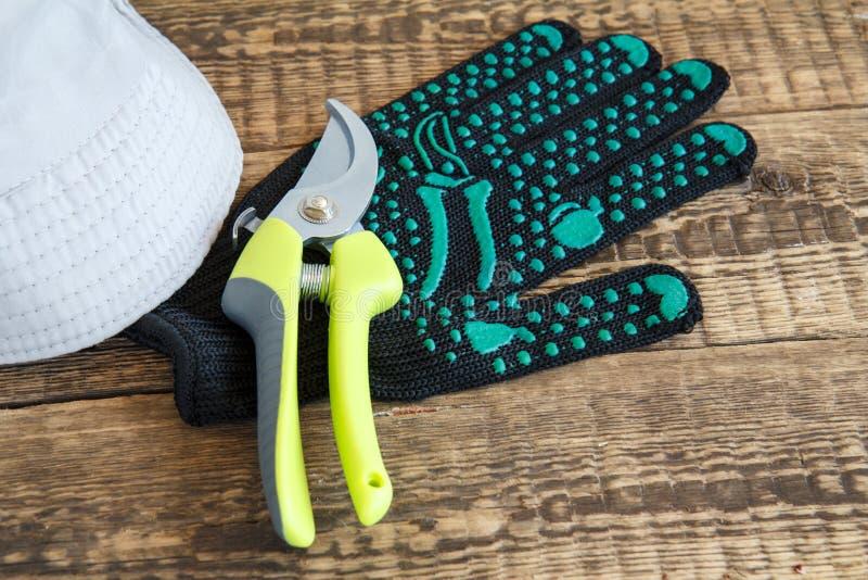 Arbeta i tr?dg?rden handsken, pruner och hatten p? tr?br?den arkivbilder