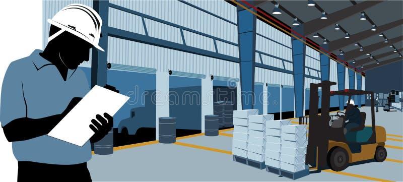Arbeta inom ett lager och en gaffeltruck royaltyfri illustrationer