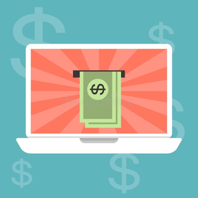 Arbeta och göra pengar online- stock illustrationer