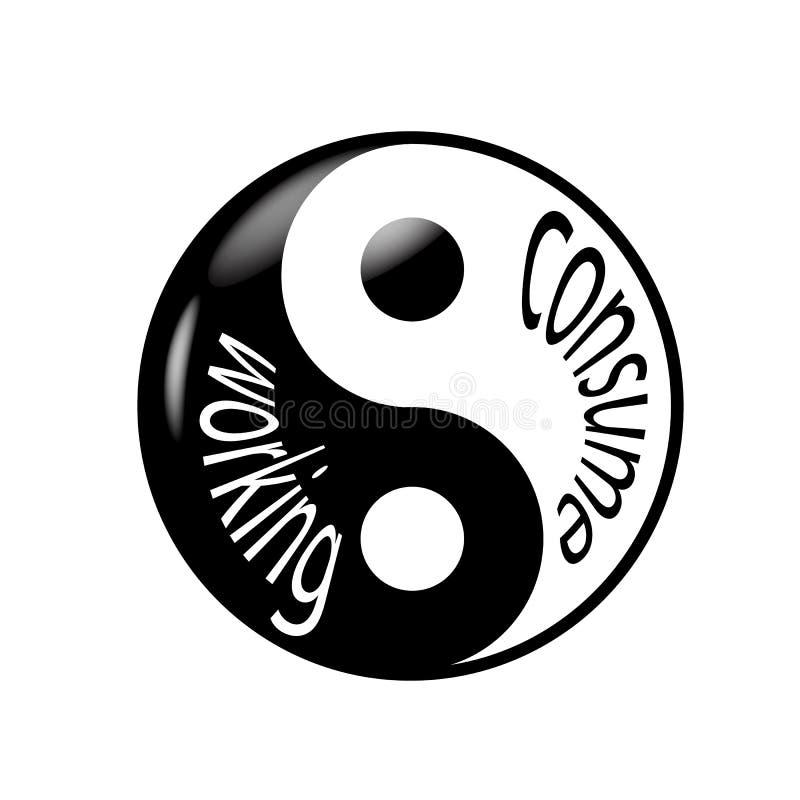 Arbeta och konsumera som yin yang stock illustrationer