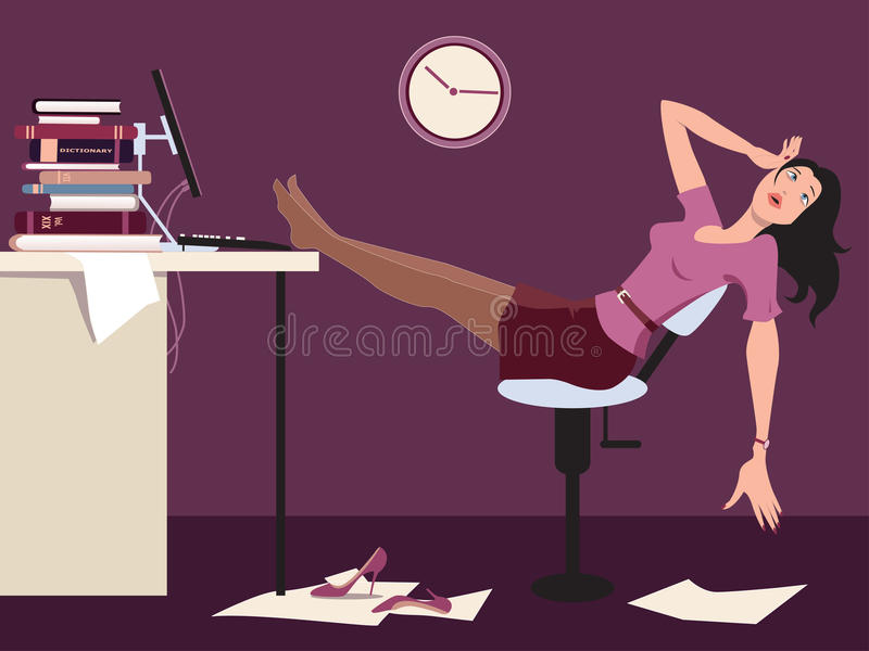Arbeta sent och tröttat vektor illustrationer