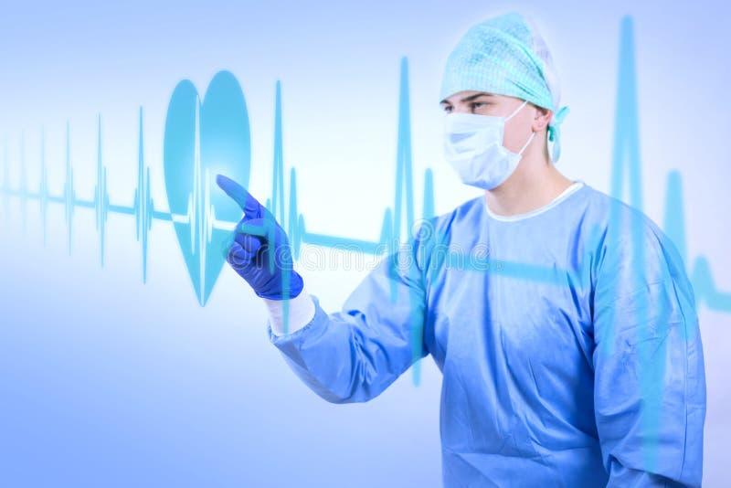 Arbetande kirurg som ser hastighet för hjärtatakt vektor illustrationer