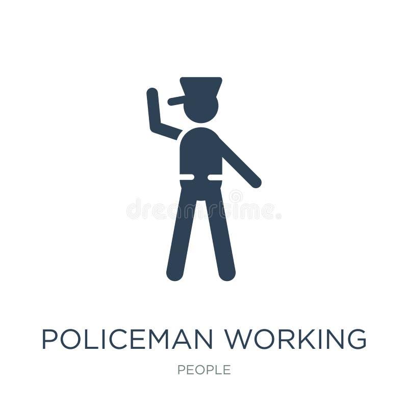 arbetande symbol för polis i moderiktig designstil arbetande symbol för polis som isoleras på vit bakgrund arbetande vektorsymbol stock illustrationer