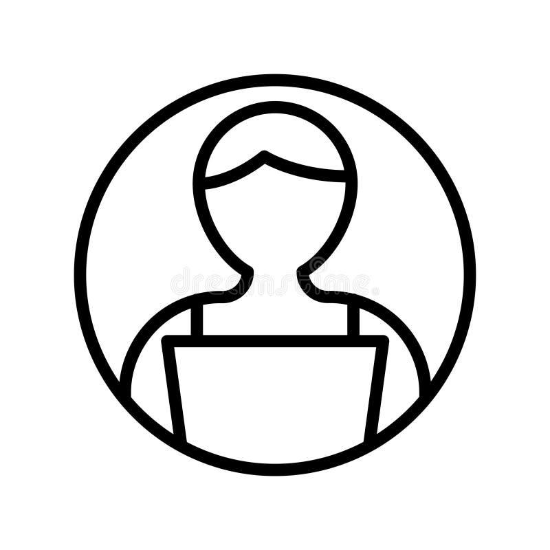 Arbetande tunn linje vektorsymbol royaltyfri illustrationer