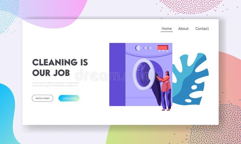 Arbetar- eller kundflicka som offentligt laddar smutsig kläder till tvätterit eller tvättinrättningen för tvättinrättningmaskin T royaltyfri illustrationer
