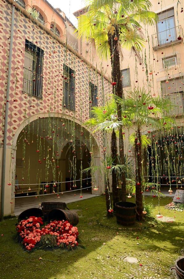 Arbetar tillfälligt de Flors (blommafestivalen), Girona, Spanien royaltyfria bilder
