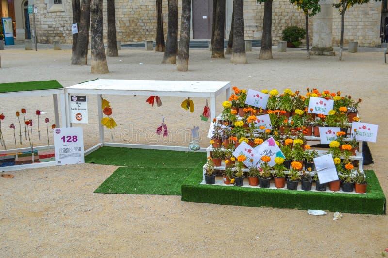 Arbetar tillf?lligt de Flors - blommafestival i Girona arkivfoto