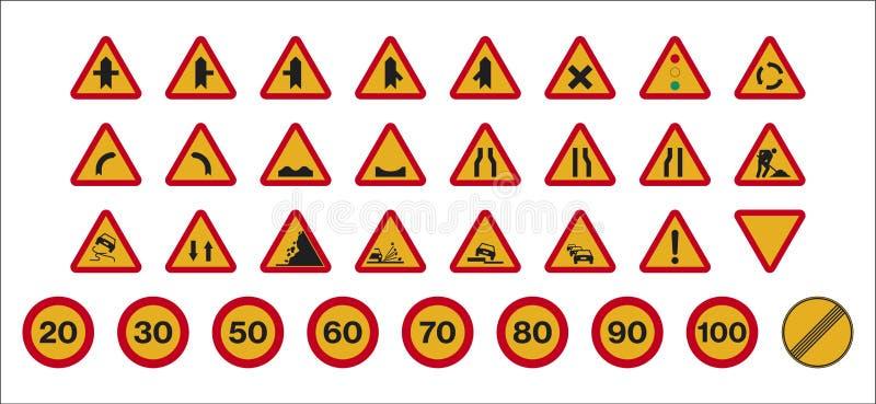 Arbetar trafiktecken vektor illustrationer