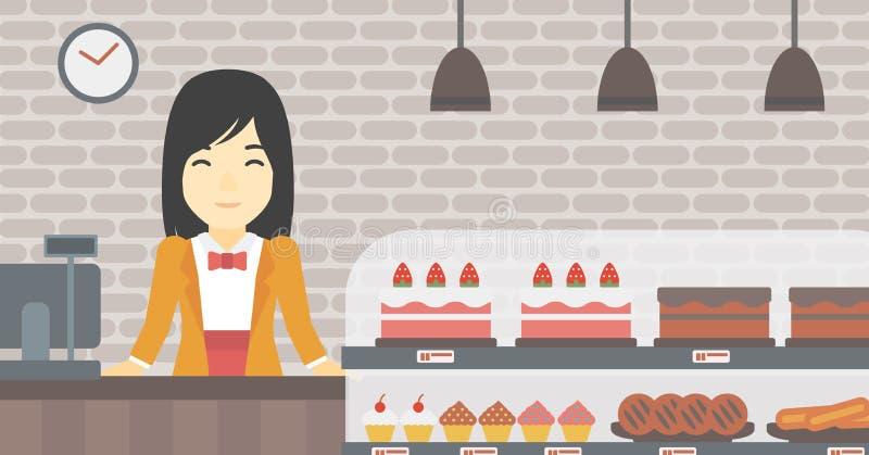 Arbetaranseende bak räknaren på bagerit stock illustrationer