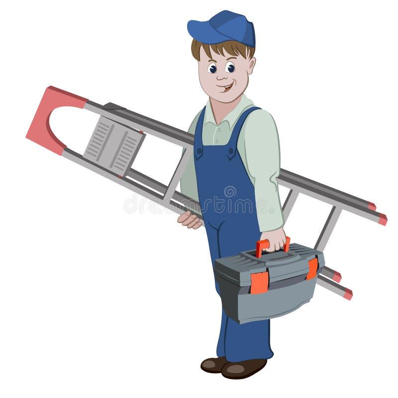 Arbetare- eller faktotumanseendet med stegen och en toolbox stock illustrationer