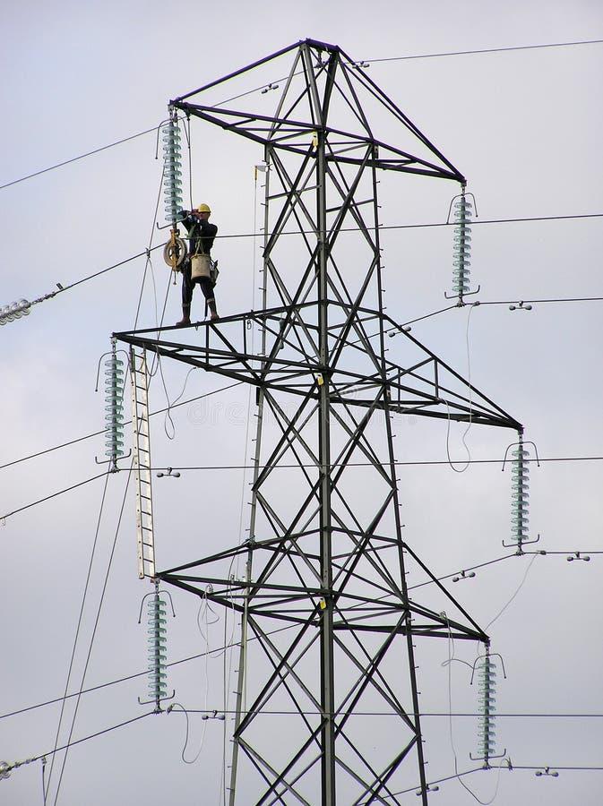 arbetare för 2 pylon arkivbild