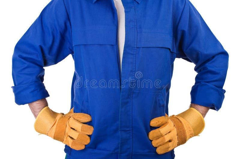 Arbetare för blå krage. fotografering för bildbyråer