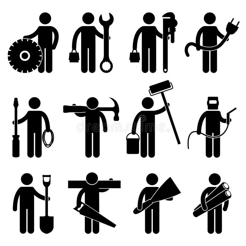 arbetare för konstruktionsjobbpictogram vektor illustrationer