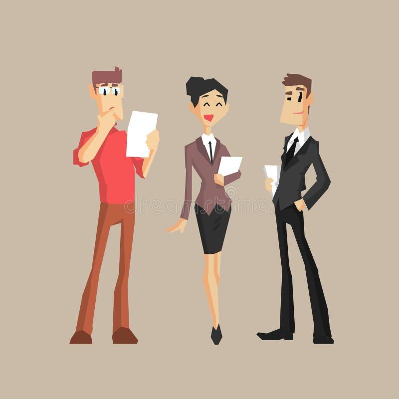 arbetare för kontor tre stock illustrationer