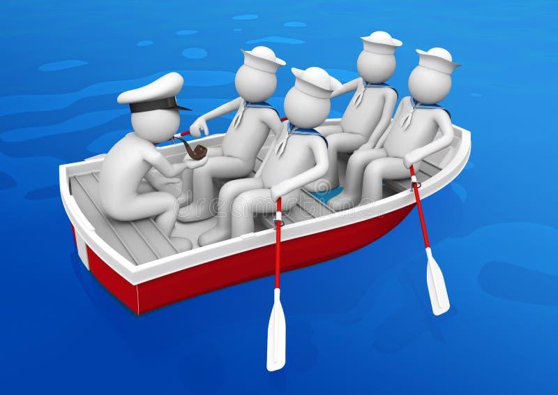 arbetare för lifeboatshipsquad royaltyfri illustrationer