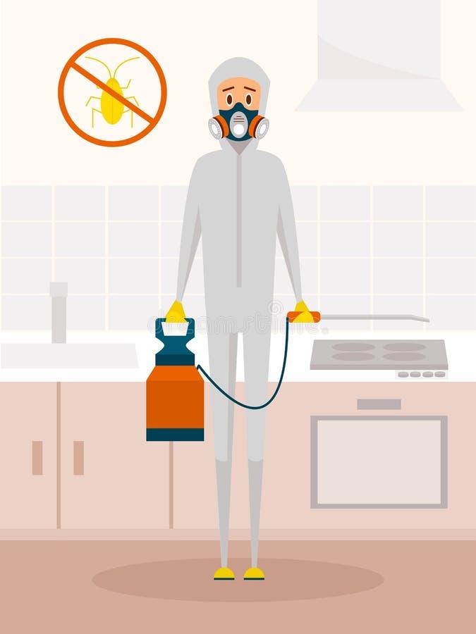 Arbetare för plågakontrollservice i kemisk skyddande dräkt Vektortecknad filmtecken i plan stildesign Utrotning eller vektor illustrationer