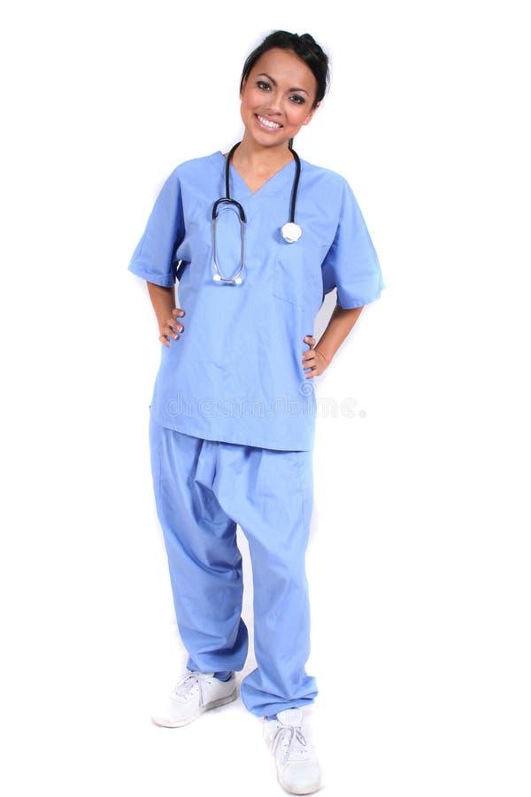 arbetare för sjuksköterska för gullig doktorskvinnlig medicinsk arkivfoto