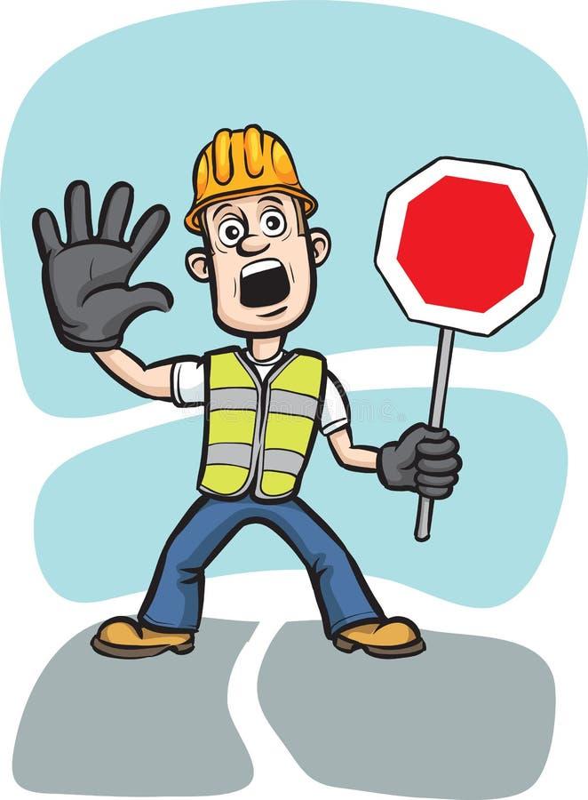 arbetare för varning för tecknad filmteckenstopp royaltyfri illustrationer