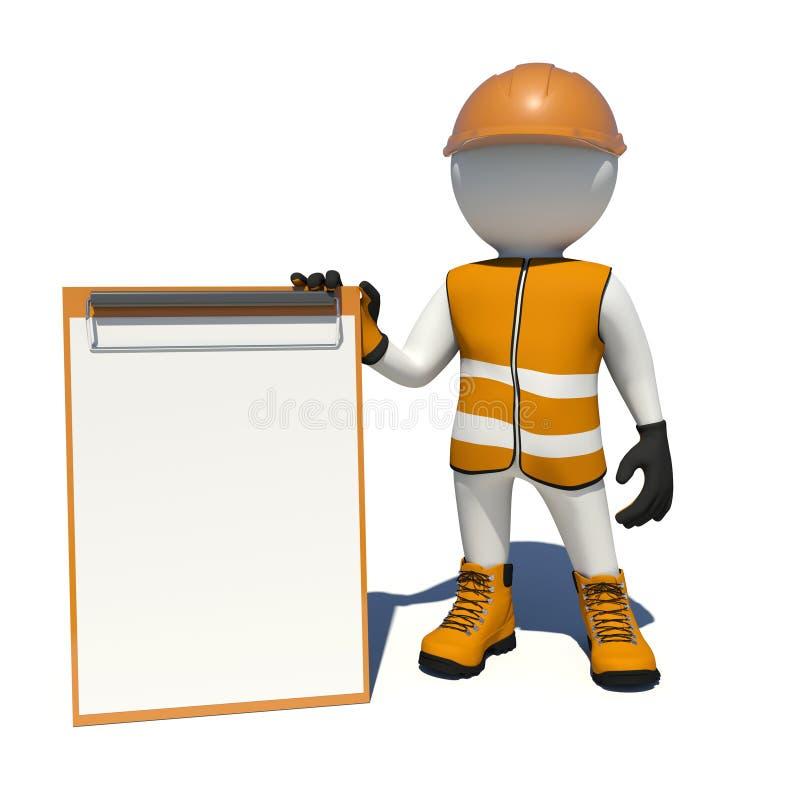 Arbetare i overaller som rymmer den tomma skrivplattan stock illustrationer