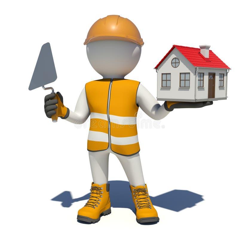 Arbetare i overaller som rymmer mursleven och det lilla huset royaltyfri illustrationer