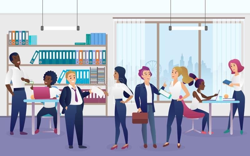 Arbetare i plan vektorillustration för modernt kontor royaltyfri illustrationer