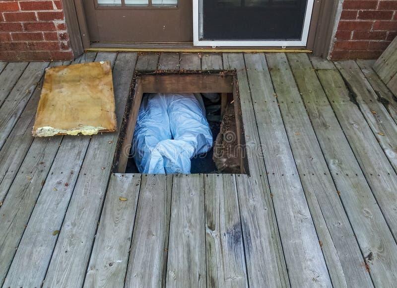 Arbetare med den skyddande dräkten som crawing under hus från crawlspace under ett trädäck - endast hans ben och fot uppvisning arkivfoton
