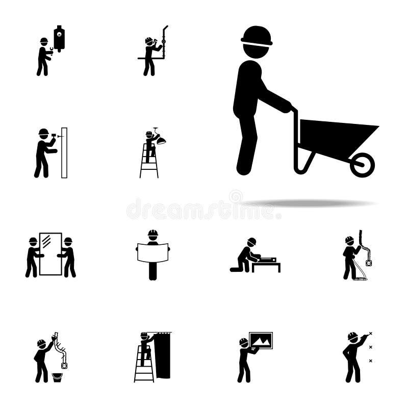 arbetare med en konstruktionsvagnssymbol Universell uppsättning för konstruktionsfolksymboler för rengöringsduk och mobil royaltyfri illustrationer