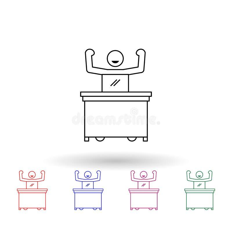Arbetare med kraftfull programikon med flera färger Simple thin line, outline vector of people in the work icons for ui and ux, w vektor illustrationer