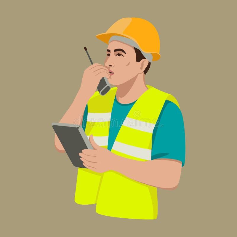 Arbetare med lägenheten för illustration för walkie-talkieradiovektor vektor illustrationer