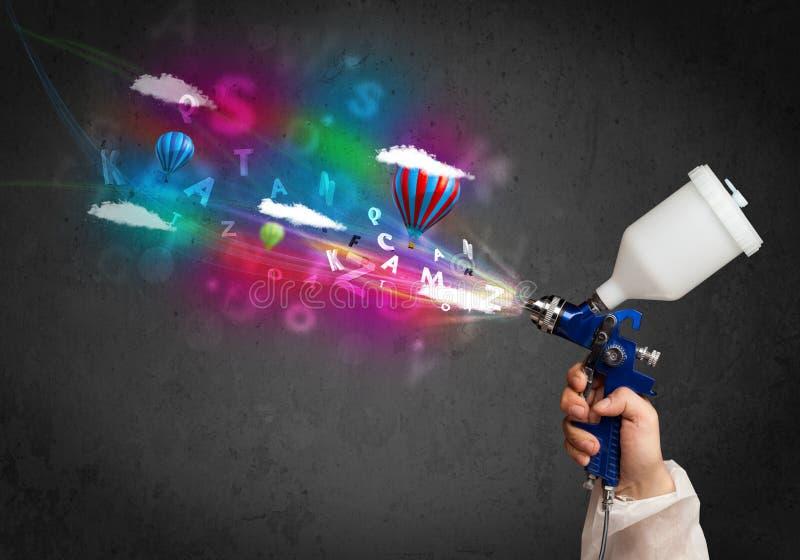 Arbetare med retuschsprutan och färgrika abstrakta moln och ballonger stock illustrationer